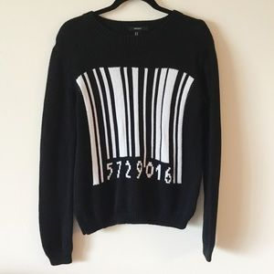 Forever 21 Black Barcode Sweater Crew Neck